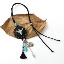 Aobei Pearl Handmade Necklace with Korean Velvet, Alloy Accessories, Turquoise, ETS-S721