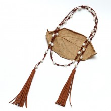 Aobei ETS-S730 korean woolen real leather AA 9-10 mm rice pearl handmade long leather pearl tassel necklace