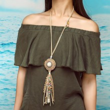Aobei Pearl, Handmade Beibei Design Personality Necklace Made of Velvet, Alloy Accessories and Colorful Beads, ETS-S750