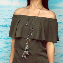 Aobei Pearl, Handmade Beibei Design Personality Necklace made of Alloy Accessories, Colorful Beads and Leather, ETS-S753