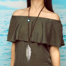 Aobei Pearl, Handmade Beibei Design Personality Necklace Made of Leather, Alloy Accessories and Colorful Beads, ETS-S754