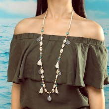 Aobei Pearl, Handmade Personality Necklace made of Alloy Accessories, Korean Velvet, Turquoise and Shell, ETS-S756