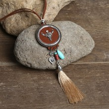 Aobei Pearl, Handmade Beibei Design Personality Necklace with Korean Velvet, Turquoise, Alloy Accessories and Cotton Thread Tassel, ETS-S757