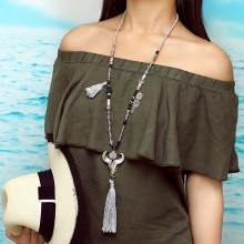 Aobei Pearl, Handmade Personality Necklace with Alloy Accessories, Colorful Beads and Cotton Thread Tassel, ETS-S758