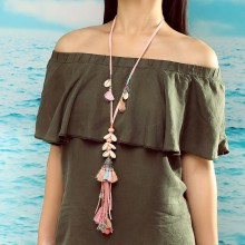 Aobei Pearl, Handmade Personal Necklace with Korean Velvet, Shell, Natural Stone and Alloy Accessories, ETS-S760