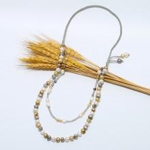 Aobei Pearl, Handmade Personal Necklace made of Korean Velvet, 11-12 mm Baroque Freshwater Pearl, 8-9 mm Baroque Freshwater Pearl and Crystal, ETS-S767