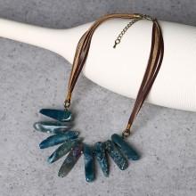 Aobei Pearl, Handmade Leather and Agate Bar Necklace, Natural Agate Necklace, Leather Necklace, ETS-S783