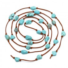 Aobei Pearl, Handmade Necklace with Turquoise & Suede for Fashion Activities, Turquoise Necklace, ETS-S793