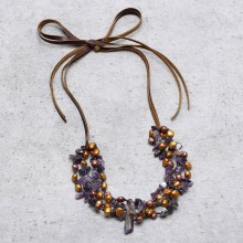 Aobei Pearl, Handmade Necklace with Natural Purple Crystal & Pearls for Fashion Shows ! Pearl Necklace, ETS-S802