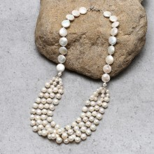Aobei Pearl Handmade Necklace with Coin & Potato Pearls and Hematite shows Cute Bib Necklace for Women ! ETS-S806