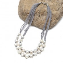 Aobei Pearl, Handmade Necklace with Pearls & Lace Rope for Wedding / Parties ! Pearl Necklace, ETS-S809