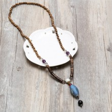 Aobei Pearl, Personal Necklace with Natural Wooden & Stone Beads, Vintage Necklace, ETS-S837