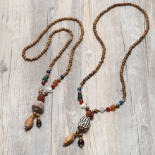 Aobei Pearl, Personal Necklace with Natural Wooden & Stone Beads, Vintage Necklace, ETS-S838