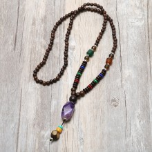 Aobei Pearl, Personal Necklace with Natural Wooden & Stone Beads, Pendant Necklace, ETS-S839