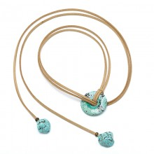 Aobei Pearl - Handmade Necklace made of Korean Velvet ( Suede ) and Turquoise, ETS-S842