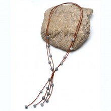 Aobei Pearl Handmade Natural Serpenggiante and Leather Cord Necklace, Pendant Necklace, ETS-S843