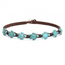Aobei Pearl, Handmade Beach Style Choker with Freshwater Pearl & Turquoise on Braided Wax Rope for Women in Summer Holidays, ETS-S846