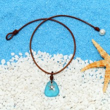 Aobei Pearl Handmade Colorful Crystal-glass Beads, Leather Cord, Freshwater Pearl and Alloy Starfish Pendant Plated with Silver, Beach Necklace, ETS-S852