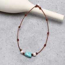 Aobei Pearl, Handmade Necklace with Freshwater Pearl, Turquoise and Genuine Leather Cord, Pearl Necklace, ETS-S861