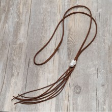 Aobei Pearl Handmade Necklace with Big Keshi Freshwater Pearl on Braided Suede Cord, Pearl Necklace, Tassel Necklace, ETS-S866