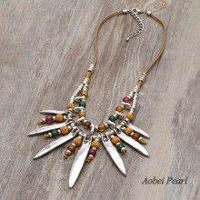 Aobei Pearl Handmade Bohemian Necklace made of Genuine Leather Cord, Colorful Glass Beads, Volcanic Stone and Alloy Accessory, Bib Necklace, ETS-S884