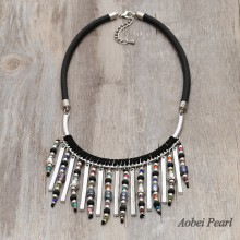 Aobei Pearl Handmade Bohemian Necklace made of Genuine Leather Cord, Freshwater Pearl, Crystal and Alloy Accessory, Bib Necklace, ETS-S885