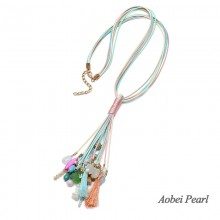Aobei Pearl, Handmade Natural Stone Beads & Wax Rope Necklace for Women, Bohemian Necklace, ETS-S886