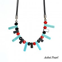 Aobei Pearl Handmade Necklace made of Turquoise, Hematite, Crystal and Wax Rope, Bib Necklace, Turquoise Necklace, ETS-S890