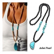 Aobei Pearl, Only 1 Pieces Left !  Handmade Long Pendant Necklace Features Baroque Turquoise Beads, Natural Wooden Beads and with Turquoise Pendant Hand-embed Diamonds, Turquoise Necklace, ETS-S891