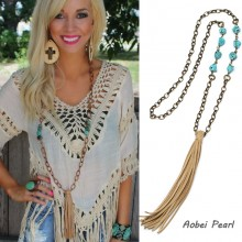 Aobei Pearl Handmade Necklace made of Turquoise, Korean Velvet Tassel and Bronze Alloy Chain, Tassel Necklace, Personalized Chain Necklace, ETS-S908
