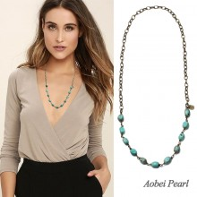 Aobei Pearl Handmade Necklace made of Turquoise and Bronze Alloy Chain, Bib Necklace, Beaded Necklace, Vintage Necklace, ETS-S911
