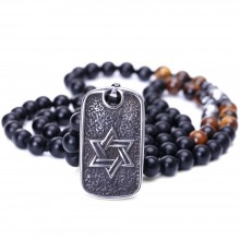 Aobei Pearl Personalized Beaded Necklace with Black Agate Stones, Tiger Eye Stones, Faceted Hematite Beads and Stainless Steel Pendant with Star of David / Cross Pattern, Gothic for Men, Knotted Necklace, ETS-S962