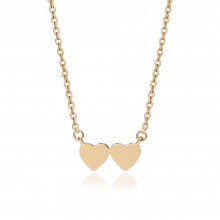 Aobei Pearl Gold Double Hearts Pendant Necklace 18K Gold Plated Chain Strand Handmade Adjustable Jewelry for Women, Long Chain Necklace, Dangle Necklace, Love Necklace, ETS-S965