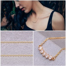 Aobei Pearl 18K Gold Chain with Zircon Bar Pendant Necklace Handmade Adjustable Jewelry for Women, Chain Choker Necklace, Dangle Necklace, ETS-S987