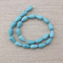 2 string of about 44 pcs,  ETS-T027 size 10 mm * 16 mm diameter hole 1.5 mm Drop-shaped turquoise