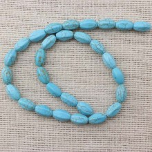 2 string of about 56 PCS,  ETS-T028  A string of beads size 8 mm * 14 mm diameter hole 1.5 mm section-ellipsoid turquoise