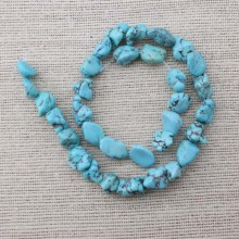 2 string of beads 56 pcs  ETS-T030  size 7-10 mm * 13-20 mm diameter hole 1.5 mm baroque turquoise