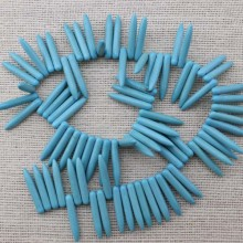 A string of beads 80  ETS -T032  size 5mm * 28mm diameter hole 1.5mm acicular turquoise