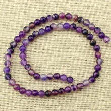 2 string of about 76 cm in length,  6 mm purple agate round beads, round agate beads, gemstone beads, beads wholesale, ETS - T070