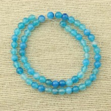 2 string of about 76 cm in length, 6 mm blue agate beads, agate round, DIY supplies, beads in bulk, ETS - T 072