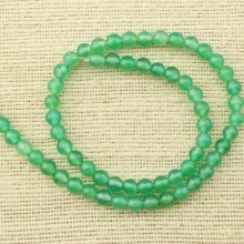 2 string of about 76 cm in length,  Green agate beads, round agate beads, agate beads 6.0 mm, beads in bulk, ETS - T074