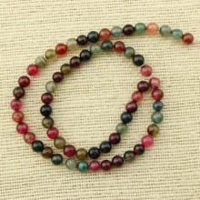 2 string of about 76 cm in length, 6 mm color mixing agate beads, ETS - T075