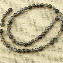 2 string of about 76 cm in length,  Ash black 6 mm round agate beads, gemstone, loose beads, beads in bulk, ETS - T076
