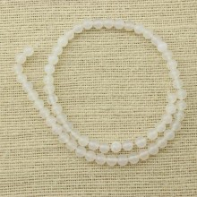 2 string of about 76 cm in length,  6 mm white round agate beads, gemstone beads, agate beads, agate , loose beads, ETS - T078