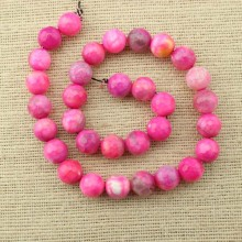 31 pcs 12 mm pink faceted round agate beads, gemstone, loose beads, beads in bulk, ETS - T084