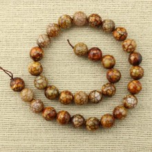 31 pcs 12 mm faceted round coffee agate beads, coffee beads, agate, loose beads, ETS - T085