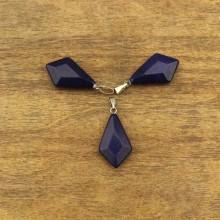 Aobei Pearl, Price for 4 pieces, Natural lapis lazuli pendant, dark blue pendant, gemstone pendant, wholesale, ETS - TD028