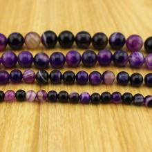 Aobei Pearl, 1 Strand from the Sale, Round Striped Agate Beads in 6 mm / 8 mm / 10 mm / 12 mm / 14 mm / 16 mm with 1.2 mm Hole, ETS-TD038
