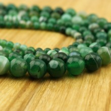 Aobei Pearl, 1 Strand from the Sale, Round Striped Agate Beads in 6 mm / 8 mm / 10 mm / 12 mm / 14 mm / 16 mm with 1.2 mm Hole, ETS-TD045