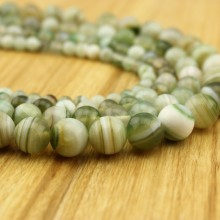 Aobei Pearl, 1 Strand from the Sale, Round Striped Agate Beads in 6 mm / 8 mm / 10 mm / 12 mm / 14 mm / 16 mm with 1.2 mm Hole, ETS-TD046